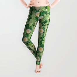 Cacti Camouflage, Succulent Bloom Floral Pattern Paper Collage Green White Leggings