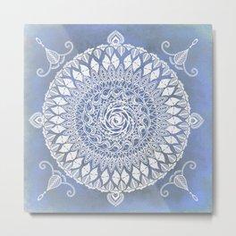 Paisley Moon Henna Mandala Metal Print