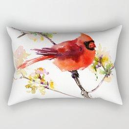 Cardinal Bird in Spring Rectangular Pillow