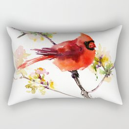 Cardinal Bird in Spring Rectangular Pillow