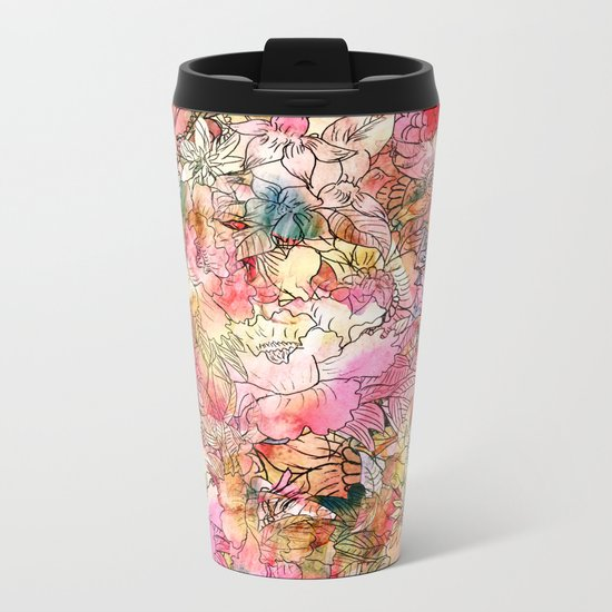 Summer Flowers | Colorful Watercolor Floral Pattern Abstract Sketch Metal Travel Mug