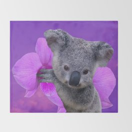 Koala and Orchid Throw Blanket