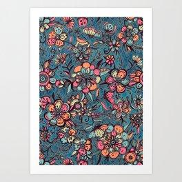 Sweet Spring Floral - melon pink, butterscotch & teal Art Print