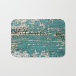 Rustic Wood Turquiose Paint Weathered Bath Mat
