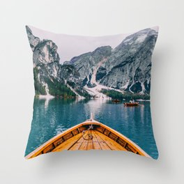 Canoe Mountains (Color) Throw Pillow