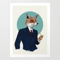 mr fox Art Prints featuring Mr. Fox by FAMOUS WHEN DEAD