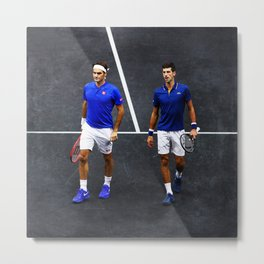 Federer and Djokovic Doubles Metal Print