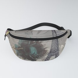 shabby elegance poppy flower french vintage paris Eiffel Tower Fanny Pack