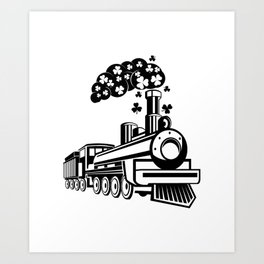 St. Patrick's Day Shamrocks Train Cute For Boy Kids Art Print
