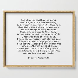 Life quote, For what it's worth, F. Scott Fitzgerald Quote Serving Tray