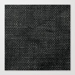 Black Burlap texture  Canvas Print