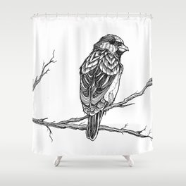 Two Sparrows by Sketchy Reputation Shower Curtain