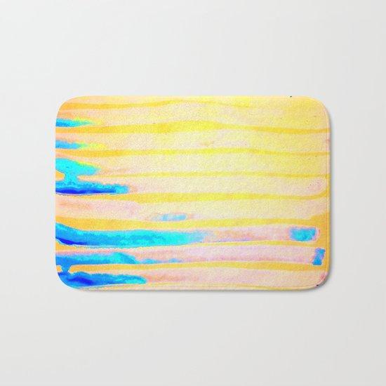 Orange Pantone Ocean Blue Lines Bath Mat