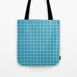 Teal with White Grid Tote Bag