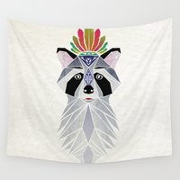 racoon Wall Tapestries featuring raccoon spirit by Manoou