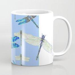 BLUE & GOSSAMER WHITE  DRAGONFLY SEASON ART Coffee Mug