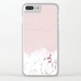 Marble spill on pink concrete Clear iPhone Case