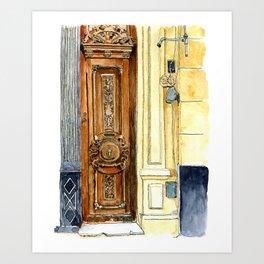 Carved Wooden Door in Old Havana, Cuba Art Print