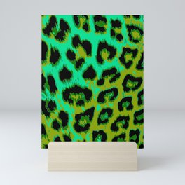 Aqua and Apple Green Leopard Spots Mini Art Print
