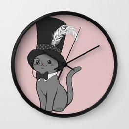 Grey Cat Wears Plumed Top Hat Wall Clock