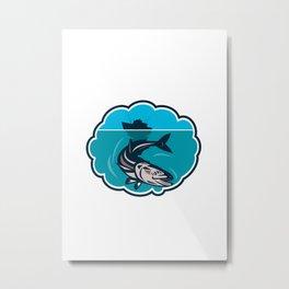 Cobia Fish Fishing Boat Bubble Retro Metal Print