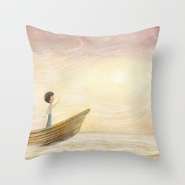Sailing home by P.S. Brooks Throw Pillow