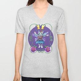 Angel Kitty (Purple) Unisex V-Neck