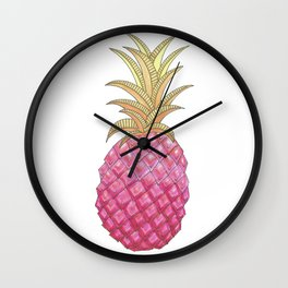 Ombre Pink Illustrated Pineapple Wall Clock