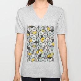 Colorful Concrete Cubes - Yellow, Blue, Grey Unisex V-Neck