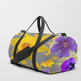 SPRING PURPLE  FLOWERS DAFFODIL ART DESIGN Duffle Bag