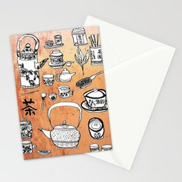 Chinese Tea Doodles 2 Stationery Cards