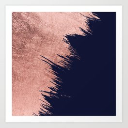 Navy blue abstract faux rose gold brushstrokes Art Print