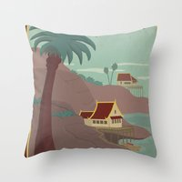 travel poster Throw Pillows featuring Ember Island Travel Poster by HenryConradTaylor