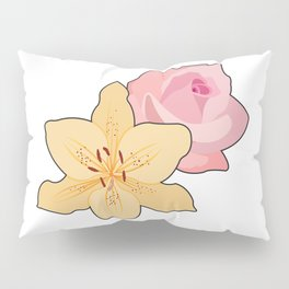 Pink Rose & Day Lily Pillow Sham