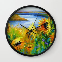 Sunflowers in the wind by the river Wall Clock
