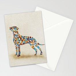 Rhodesian Ridgeback Dog Typography Art / Watercolor Painting Stationery Cards