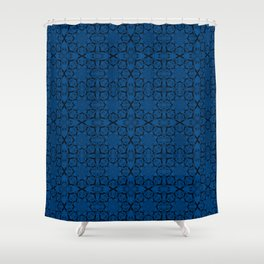 Lapis Blue Geometric Shower Curtain