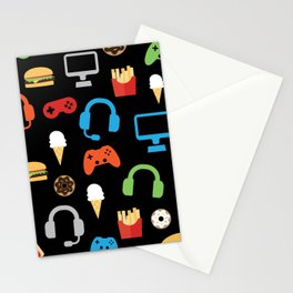 Video Game Party Snack Pattern Stationery Cards