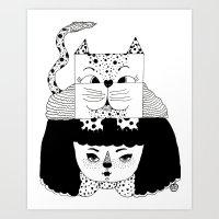 mew Art Prints featuring mew by Jen Lin Aliaga