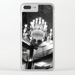 black and white lit lobby Clear iPhone Case