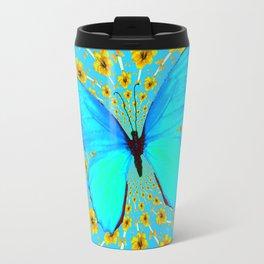 BLUE BUTTERFLY YELLOW AMARYLLIS PATTERNED ART Travel Mug