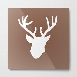 Deer Head: Brown Metal Print