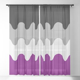 Wavy Asexual Flag Sheer Curtain