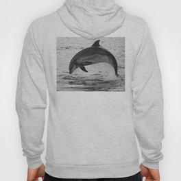 Jumping wild bottlenose dolphin black and white Hoody