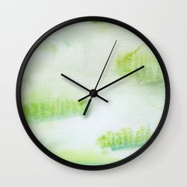 Misty Green Trees Wall Clock