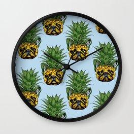 Pineapple French Bulldog Wall Clock