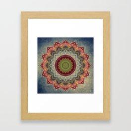 Retro Folk Art - Spirit Lotus Mandala Blue Red Framed Art Print