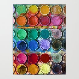 watercolor palette Digital painting Poster