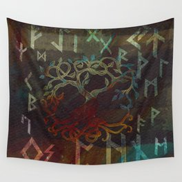 Tree of life  -Yggdrasil - and runes Wall Tapestry