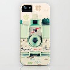 Mint Retro Film Camera on Beige - Cream Pattern Background  iPhone (5, 5s) Slim Case